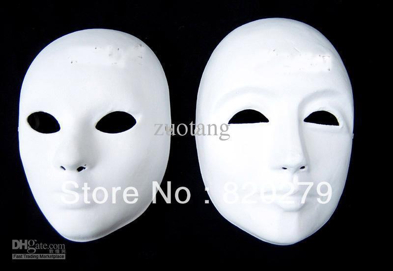 Compre DIY Llano Blanco Máscaras Para Mujer Femenina Sin Pintar ...