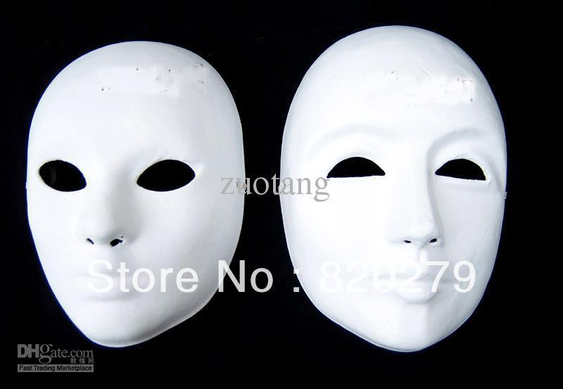 DIY Plain White Masks For Male Female Unpainted Paper Pulp Thicken Full Face Blank Masks to Fine Art Painting Program 50pcs/lot