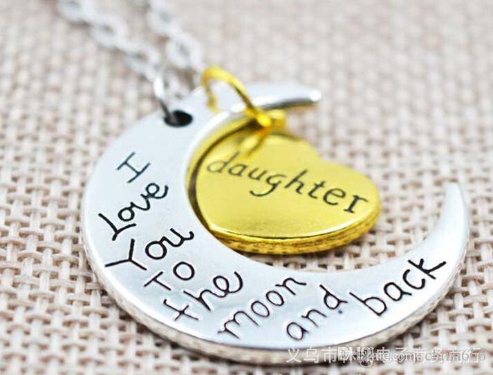2015 New Two Piece I Love You To The Moon And Back Silver Gold Color Necklace Pendant Valentine Day Gift Chain Chains