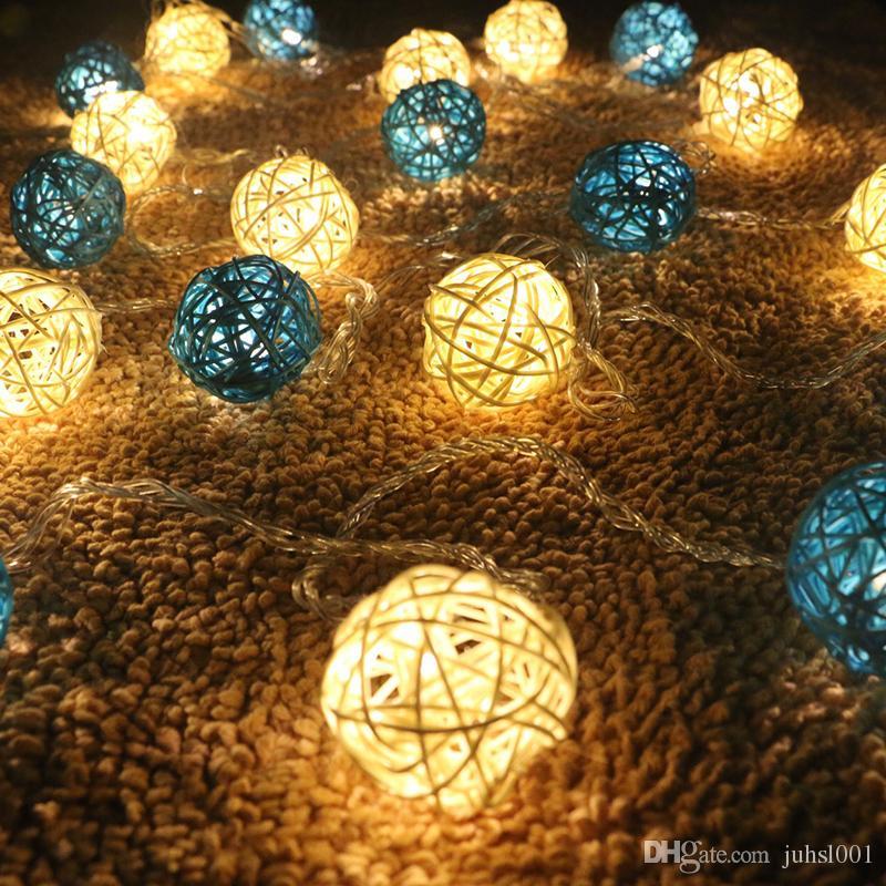 4m 20led rattan ball string lights sepak takraw ball light lamp