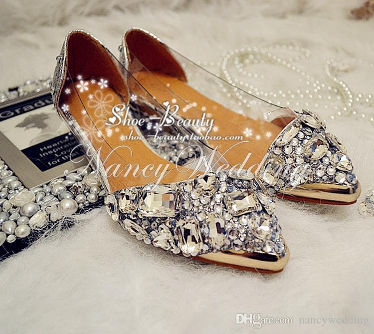 Flat Heels Dancing Shoes Crystal rhinestone pointed toe Prom s Prom Single shoes transparent sandals party dress wedding shoes