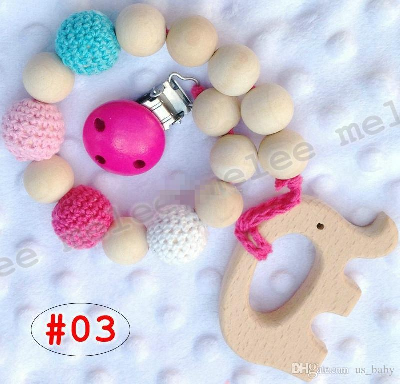 Infant Pacifier Clips Baby Natural wooden Teethers Holder Chain beads Crochet covered beads Safe for teething