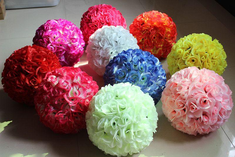 25cm Wedding Silk Rose Kissing Ball Wedding centerpiece decor Artificial Bridal Rose Flower Hot Sale love007