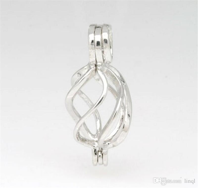 18kgp витой клетке медальон, стерлингового серебра жемчуг / Кристалл / драгоценный камень шарик клетка подвеска крепление для DIY ювелирные изделия подвески P33