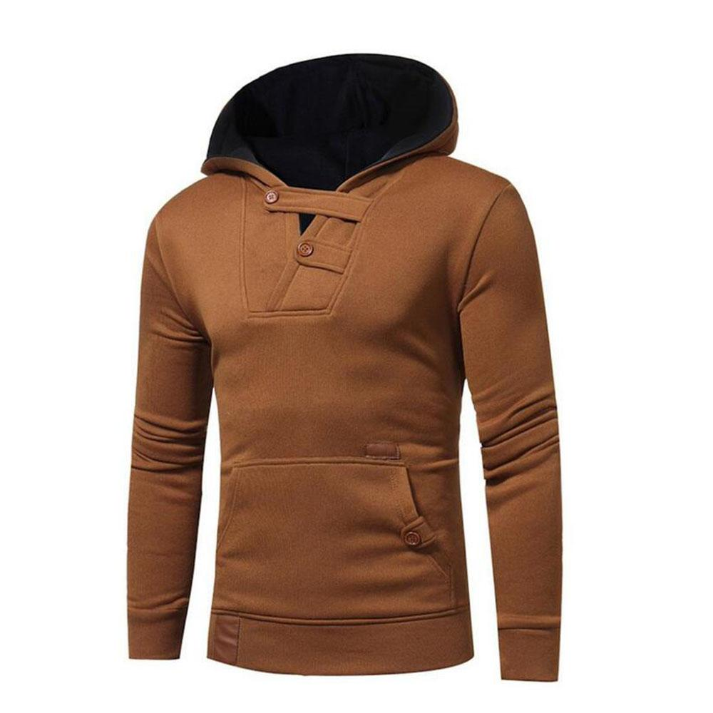 Mens' Fashion 2018 Long Sleeved Hoodies Front Pocket Button Decor Hooded Pullover Jacket Sweatshirt Jumper Tops