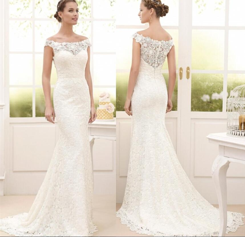Vintage lace 2015 wedding dresses sheath 2016 bridal gowns for Cheap sheath wedding dresses