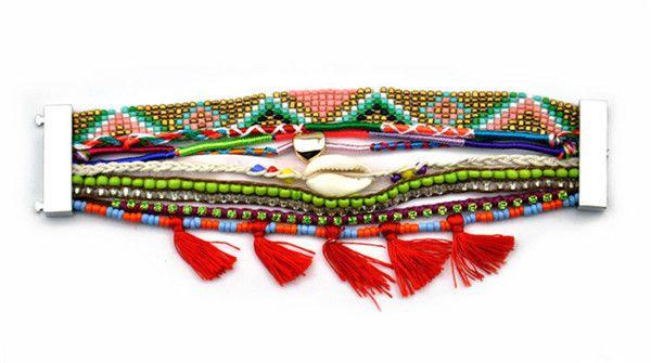 Новые Женщины Богемной Сердце Любовь Мексиканский Бисером Браслеты Плетеные Многослойные Пляж Шарм Горный Хрусталь Цепи Браслеты