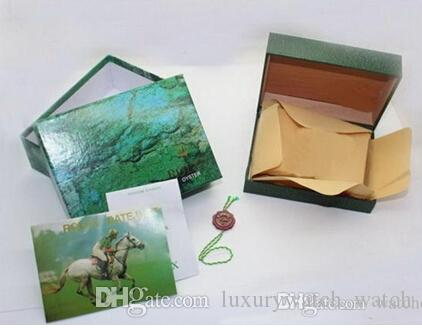 المصنع المورد الفاخرة الأخضر مع مربع الأصلي خشبي ووتش مربع أوراق بطاقة محفظة boxeskases ساعة اليد