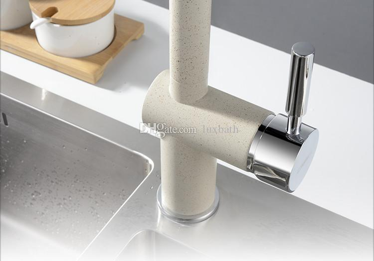 Rolya لفترات محدودة جديد وصول النحاس ماتي الأسود الجرانيت صنبور المطبخ sandbeige بالوعة المطبخ خلاط صنبور مع 360 درجة دوران صنبور