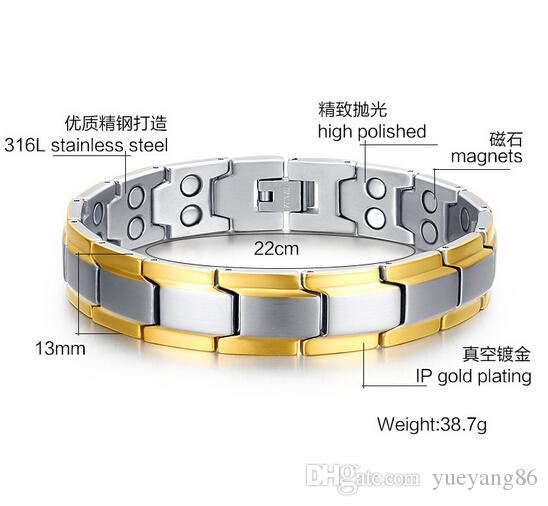 Cool New Silver Gold 316L High Polished Stainless Steel Health Care anti-radiation magnet Stone Link Chain bracelet 13mm 8.66''