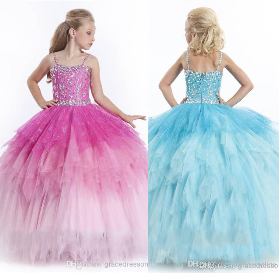 Girls Pageant Dresses 2015 Spaghetti Fuchsia Sky Bluetulle Ball Gown ...
