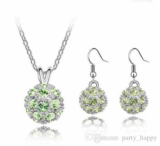 Shamballa Crystal Bead Disco Ball Charm Silver Pendant Necklace Stud Earring Set High-grade High-end Jewelry Earring The Czech Drill Feminin