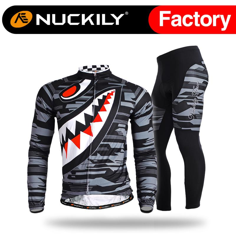 Nuckily Cool max sharp tooth design cycling set Men's special design with  high quality shirt and tight 2pcs suit MC001&MD001