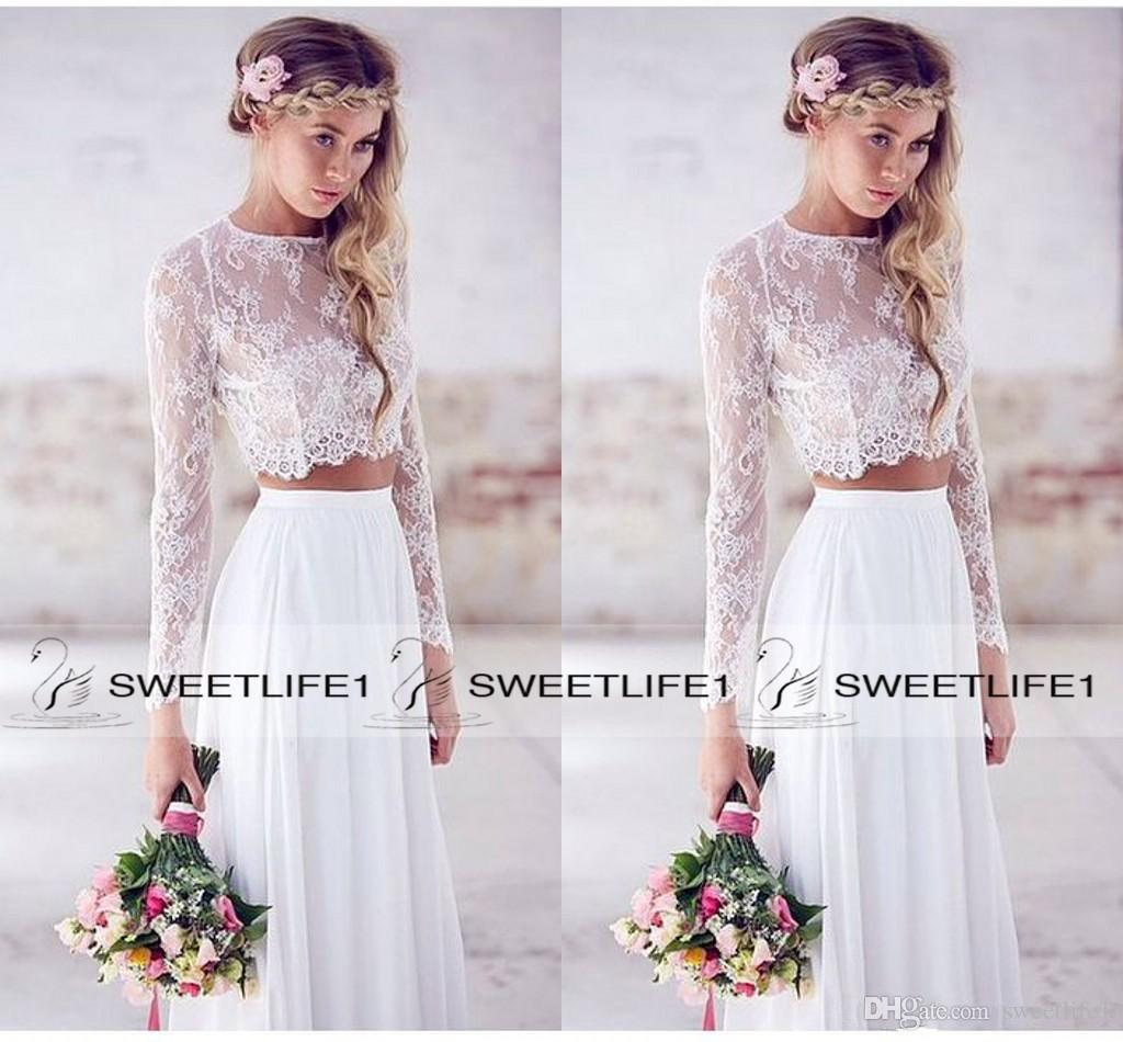 2016 Hot Sale Two Pieces Lace Top Chiffon Skirt Beach Wedding ...