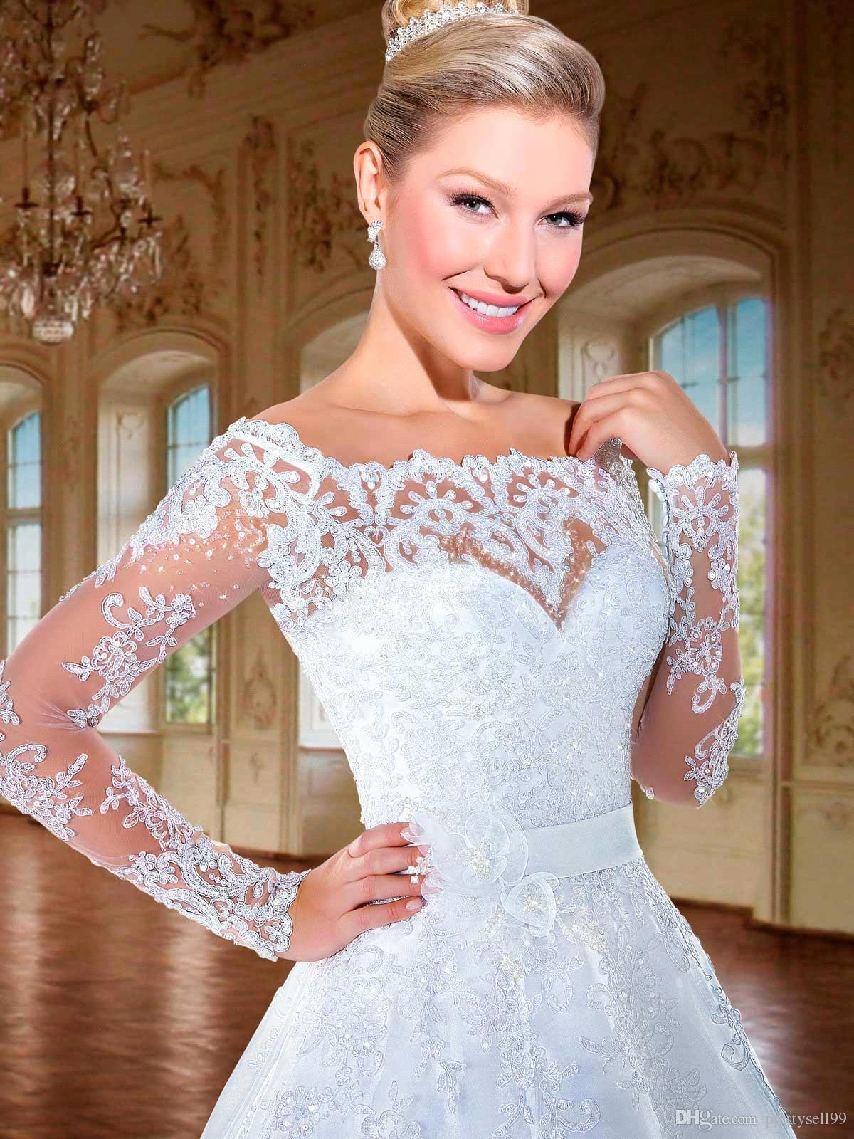 Платье De Novia Новый стиль Кружева Свадебные платья 2018 года с длинными рукавами Часовня Поезд свадебное Gowns