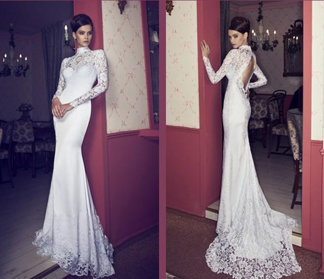 High Neck Long Sleeve Mermaid Wedding Dresses Open Back SexyHot Lace Bodice Exquisite Bridal Gowns Riki Dalal 2015 Zc Cheap Beautiful