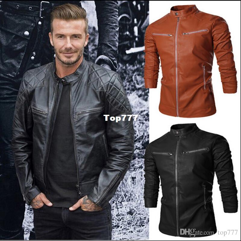 76b13faea22 Leather Jacket Men Stand Collar Autumn New Men S Leather Jacket +Locomotive  Style Men S Slim Fit Leather Clothing Black Brown Mens Coat Blue Jacket From  ...