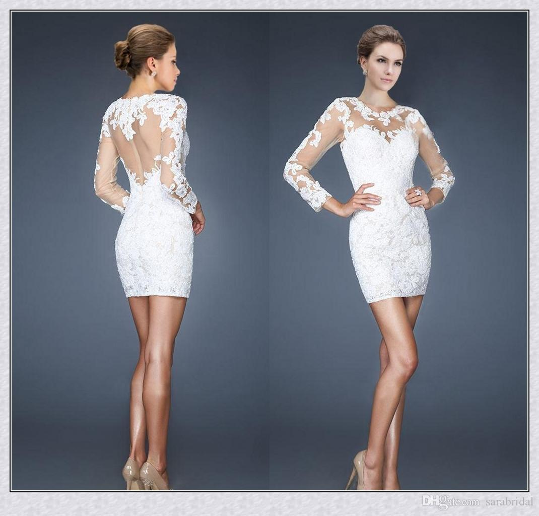 White Long Sleeves Homecoming Dresses 2015 Sheath Scoop See ...