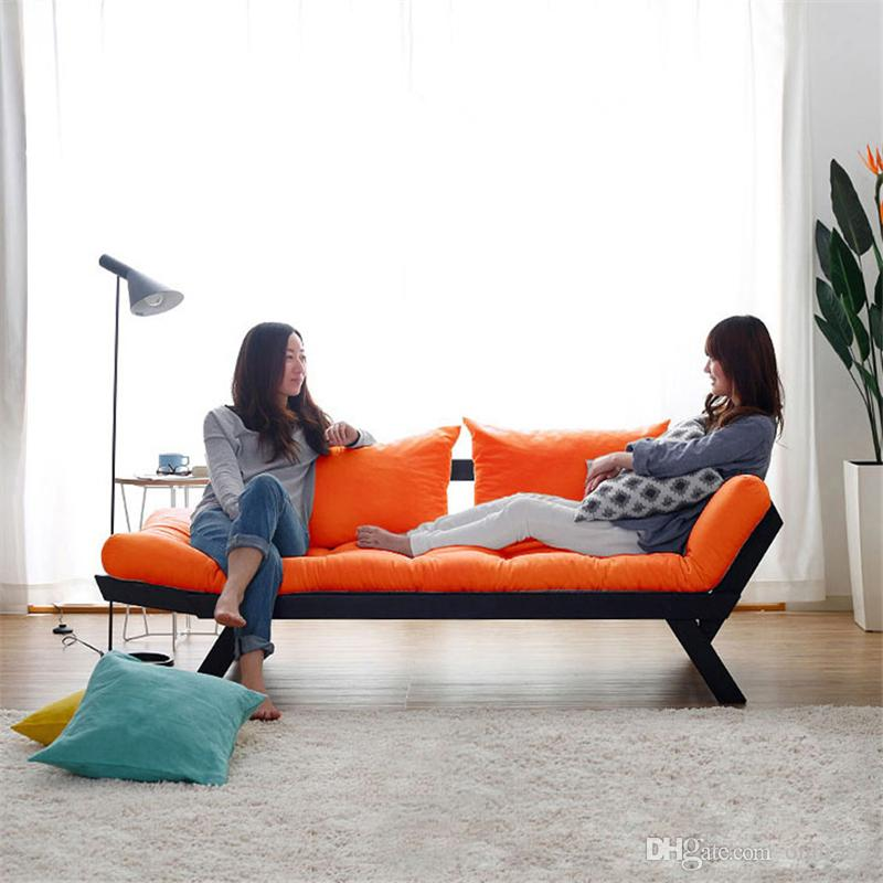 2018 Modern Simple Japanese Style Solid Wood Foldable Sofa Bed Double Three  Person Fabric Sofa With Back Cushions Black Color Frame F04w4 From Onni555,  ...