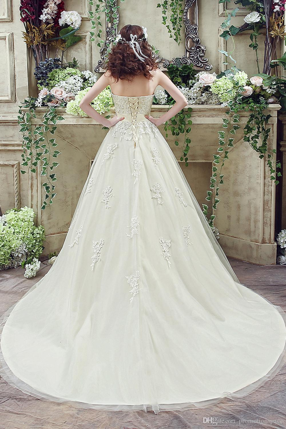 White Champagne Lace Wedding Dresses 2016 New Ball Gown Sweetheart Appliqued With Bow Sash Lace-up Back Floor Length Bridal Gowns CPS241