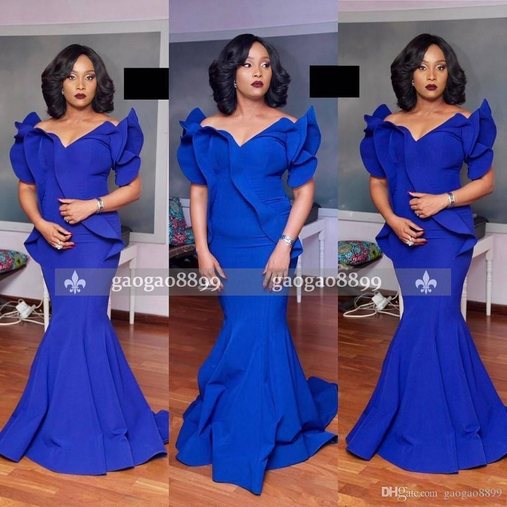 2019 South African Royal Blue Plus Size Mermaid Formal Evening Dresses Satin Cheap Floor Length Formal Dresses Party Prom Wear