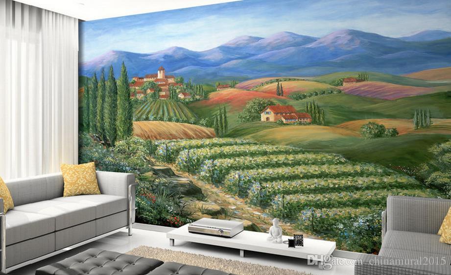 Papel pintado de la foto para las paredesBeautiful rural pastoral landscape wallpaper del paisaje 3d