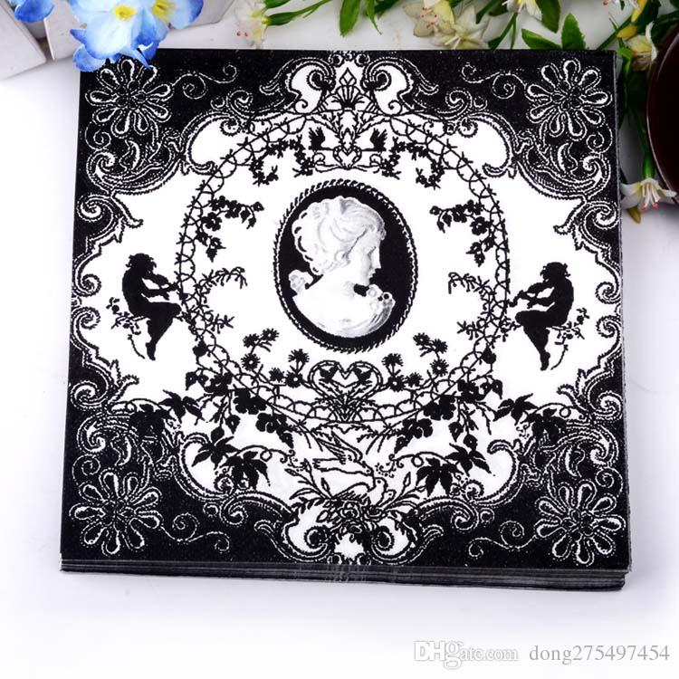 Food-grade table paper napkins tissue flower bird black and white vintage printed decoupage home bar hotel wedding party festive decorative