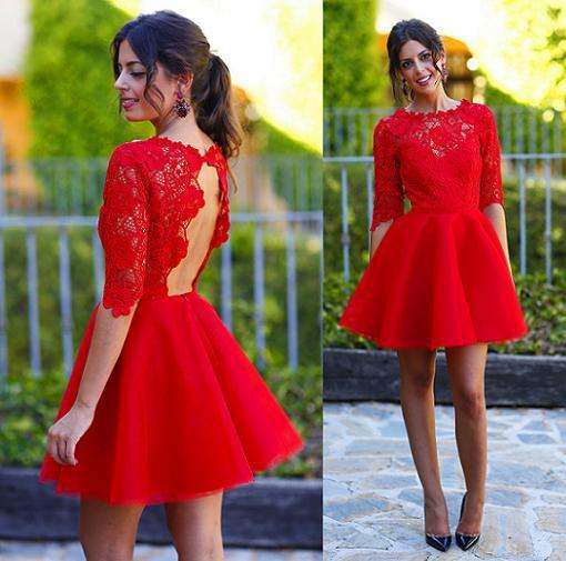 Vestidos de fiesta de media manga de color rojo O Top de encaje de cuello alto sin respaldo Una línea de vestido de fiesta de chifón de regreso a casa corto por encargo