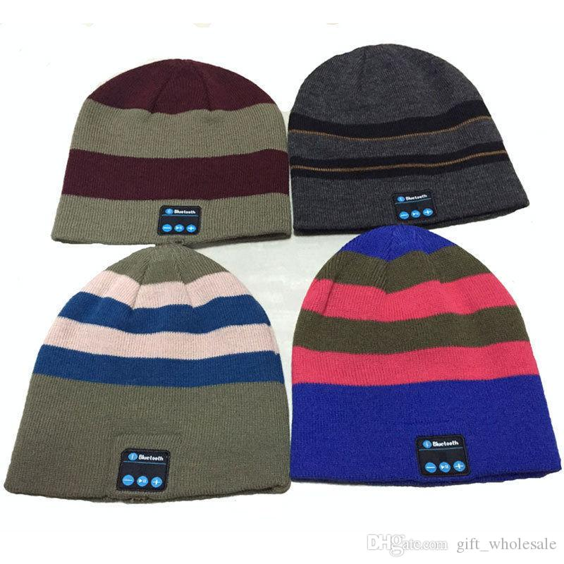 Bluetooth Music Knitted Hat Soft Warm Wireless Speaker Receiver Outdoor Sports Smart Cap Headset Headphone support for iphone 6s Samsung