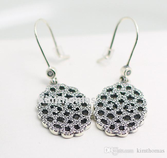 925 Sterling Silver Shimmering Lace Dangle Earrings with Clear Cubic Zirconia Fits European Pandora Style Charms Jewelry