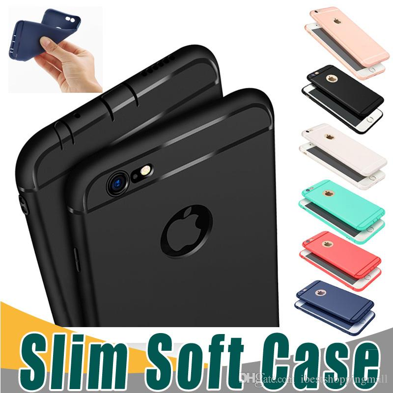 Slim Soft TPU Silicone Case Cover Candy Colors Matte Phone Cases Shell with Dust Cap For iPhone X 8 7 6 6S Plu 5S
