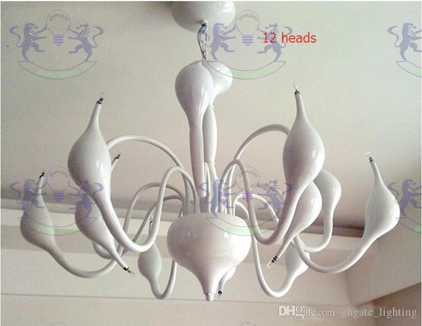 12 lichter schwan kronleuchter moderne schmiedeeisen pendelleuchten weiß / schwarz / chrom / rot 110 v-240 v wohnzimmer leuchte dekoration