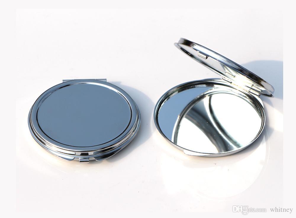 Nueva plata Thin Pocket espejo compacto en blanco de metal redondo del maquillaje del espejo DIY Costmetic Espejo del regalo de boda # M0832