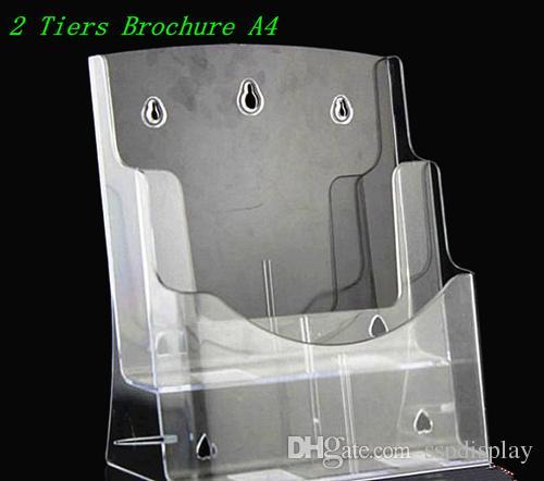 Temizle A4 Iki Katlı Broşür Broşür Edebiyat Plastik Akrilik Ekran Tutucu Masaüstü Broşür Eklemek Için Standı 2 adet Ücretsiz Kargo