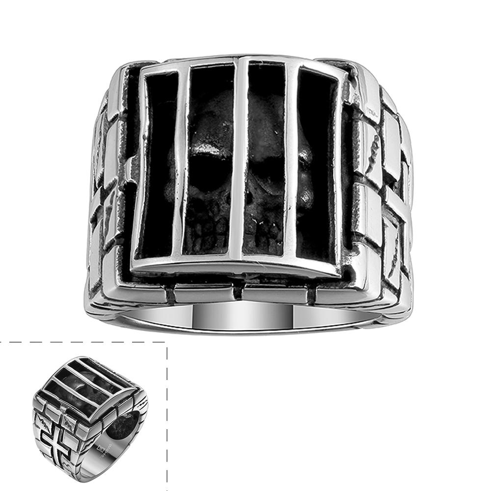 skull caged gothic prison unique retro mens stainless steel ring us size8 11 pearl ring titanium wedding bands from jdh2015 769 dhgatecom