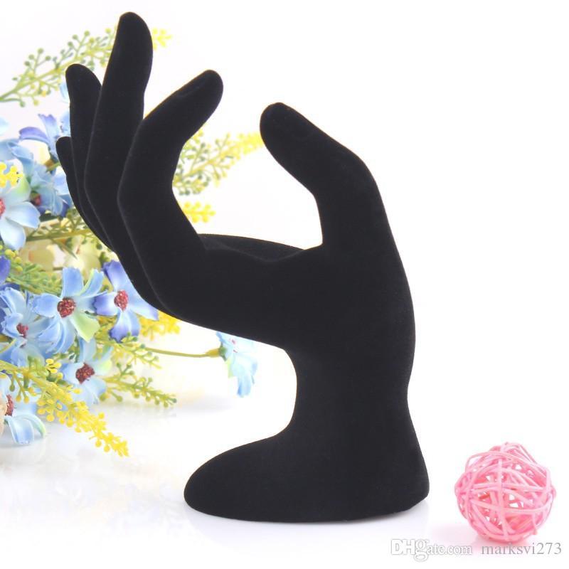 Veludo preto OK Mão Display Anel Pulseira Colar de Suspensão de Jóias de Mão Stands Titular Organizador de Jóias Show Rack de Resina