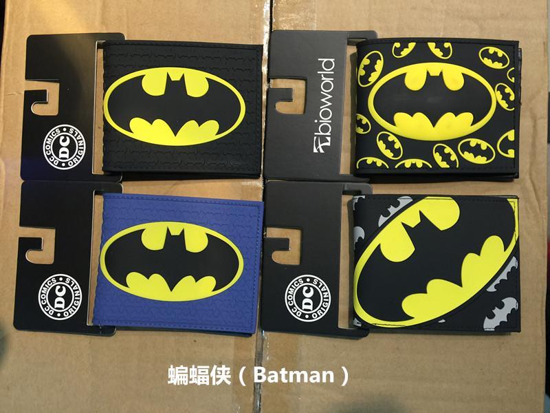 DC Marvel Comics Men PVC Wallet 3.45 inch Dollar Bags Batman Anime Prints Card Holder Purse Leather Black Wallets billeteras