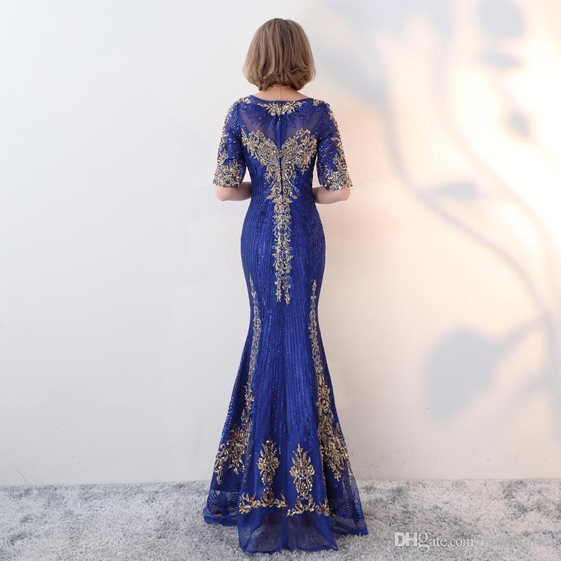 Stunning Sexy Royal Blue 2017 Evening Dresses Sheer Neck Sequined Lace Mermaid Prom Dresses Fashion Cheap Formal Party Bridesmaid Gowns