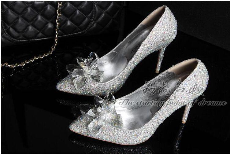 Yeni Varış Külkedisi Yüksek Topuklu Kristal Düğün Ayakkabı Ünlü Ince Topuk Taklidi Platformu Kelebek Külkedisi Kristal Ayakkabı