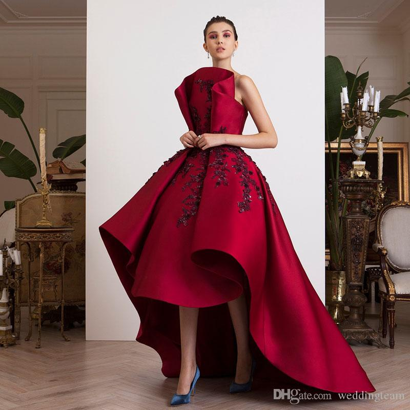 88d49f6c23b 2018 Red High Low Prom Dresses Strapless Neck Beaded Evening Gowns A Line  Vestidos De Fiesta Satin Sweep Train Appliqued Formal Dress 2015 Prom  Dresses With ...