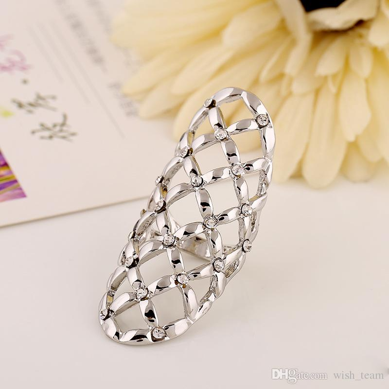 Горячий продавать изысканный CZ алмазные кольца полые геометрические узоры кольца палец ногтей кольца женщины заявление ювелирные изделия 2 цвета W933