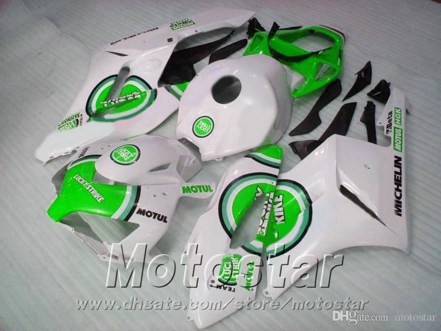 HONDA Enjeksiyon kalıp için en kaliteli kaplama vücut kiti CBR1000 RR 04 05 yeşil beyaz ŞANSLı STRIKE fairings set 2004 2005 CBR1000RR XB67