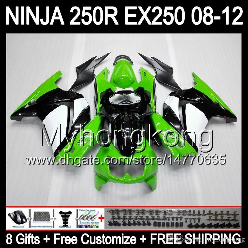 8ギフト+ボディkawasaki ZX 250R EX250 08-12 MY24グリーンホワイトZX250R 08 09 10 11 12 ex 250 ZX-250R 2008 2009 2011 2012 2011年2012年
