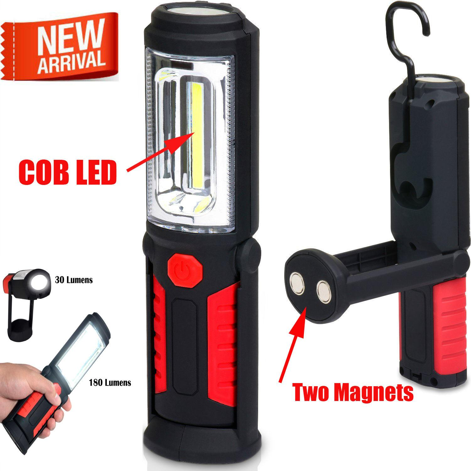 Led Magnetic Work Light Cob Stand Hook Inspection Hanging ...