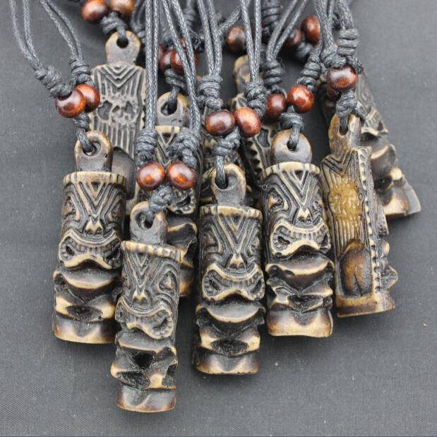 Yak bone carved tribal maori tiki charm pendant necklace amulet gift cheap pink diamond heart pendant necklace wholesale obsidian buddha head pendant necklace aloadofball Gallery