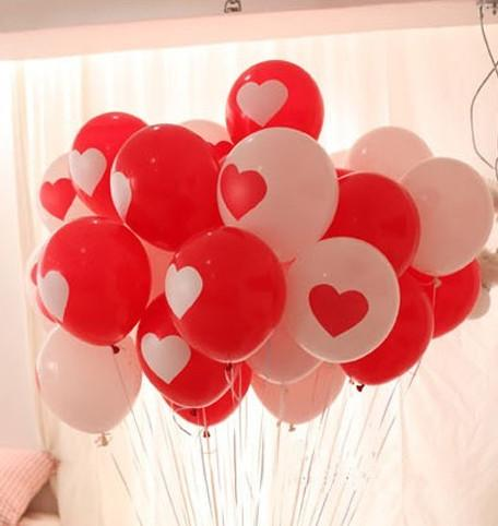12 32g Red White Heart Love Balloon Latex Thicken Wedding