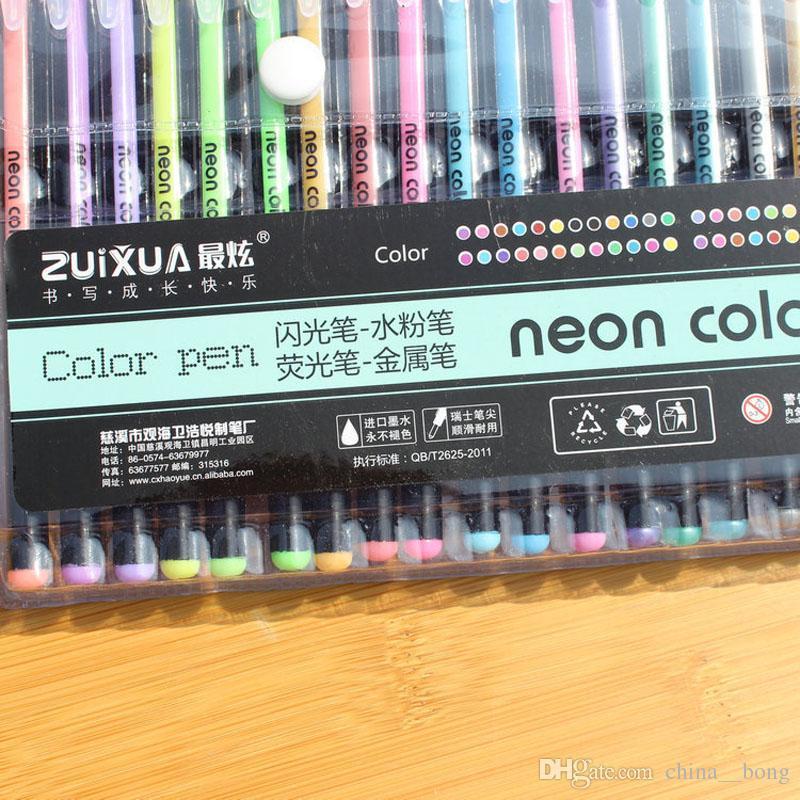 tinta de bol/ígrafo no t/óxico recarga barra para papeler/ía escolar multicolor Elviray 48 colores // juego de recarga para bol/ígrafo de gel recarga para gel para pintura