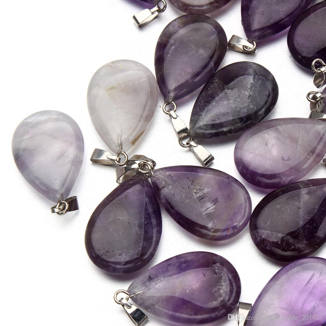 Drop Purple Amethyst Jewelry natural Gemstone Pendants High Polished Loose Beads Silver Plated Hook Fit Bracelets and Necklace DIY