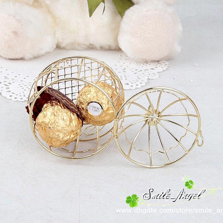 Düğün Favor Kutusu Avrupa Yaratıcı Altın Matel Kutuları Romantik Ferforje Birdcage Düğün Şeker Kutusu Teneke Kutu Toptan Düğün Şekeri