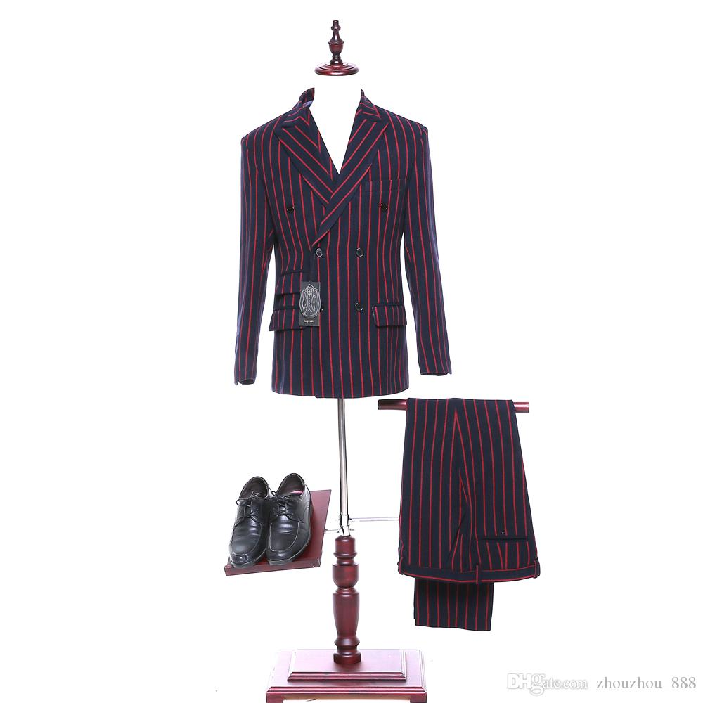 New red striped lapel double-breasted men's wedding dress and men's evening dress jacket + pants + vest custom made
